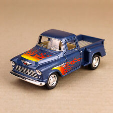 1955 Blue Chevrolet Stepside Pickup Ute with Flames 1:32 Scale Die-Cast Model