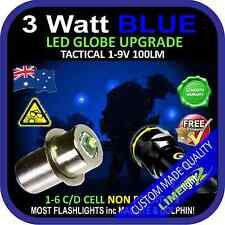 LED BLUE 1-9V UPGRADE 3W CREE BULB GLOBE for MAGLITE DOLPHIN FLASHLIGHT TORCH