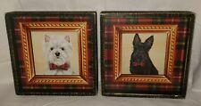 2 Scottie Scottish Scott Terrier Black & White Framed Pictures New