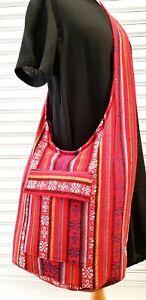 Thai Handmade Yam Hippie Boho Sling Crossbody Bag Naga Cotton Red Color Unisex