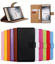 Flip Echt Leder Wallet Handy Case Schutz Hülle Cover Tasche Bumper Für Huawei