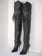 Wild Pair Black Leather Fringe Thigh High OTK Boots 8.5 Vintage Rare