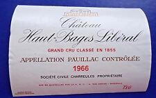 Wine Label 1966 Chateau Haut-Bages Liberal Appellation Pauillac Controlee #1