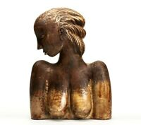 LARGE CONTINENTAL SCULPTURAL POTTERY BUST 20TH C.