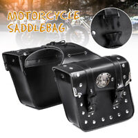 Motorcycle Side Saddle Bag Luggage Pannier Storage Pouch PU Leather Universal