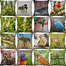 """18"""" Bird Parrot Print Cotton Linen Cushion Cover Sofa Home Decor  Pillow Case"""