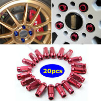 20PCS 50mm Red Open End Extended ALUMINUM TUNER RACING WHEEL LUG NUTS M12X1.5