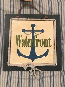 Slate Wall Plaque Waterfront Anchor Picture Summer House Ocean Home Wall Boat