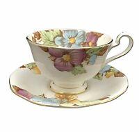 Bell China Fine Bone Cups Saucers Set Multi Color Florals Gold Trim England