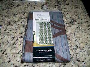 MAIN STAYS  LYNDEN FABRIC BLUE STRIPED WITH BROWN PRINT SHOWER CURTAIN NEW!