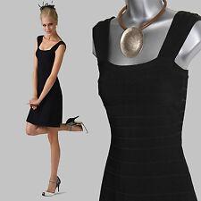 MONSOON Stunning Black Senna Swing Prom Square Neck Wide Strapped Dress UK  8