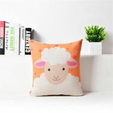 Pink Sheep Cotton Linen Waist Cushion Pillow Case Cover Home Sofa Bed