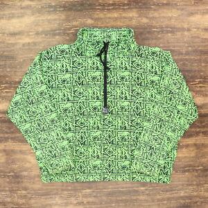 "VTG 90s Ocean Pacific Adult Large 51"" 1/2 Zip Pullover Anorak Jacket Nylon Green"
