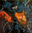 """Original painting 12x12"""" Alcohol Ink and Marker world chaos by Lynne Kohler"""