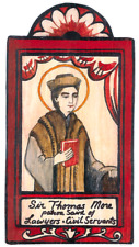SIR THOMAS MORE SAINT LAWYERS CIVIL SERVANTS HANDCRAFTED WOOD POCKET RETABLO 22