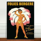 "Vintage French Caberet Poster Art ~ CANVAS PRINT 24x18"" Folies Bergere"
