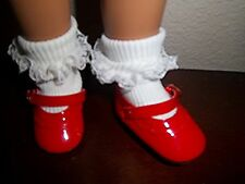 """Grt Dressy RED Mary Janes Gold Buckle & Scalloped Trim Mary Hoyer 1-13/16"""" L"""