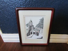 Artist Drawing Pen and Ink Porte St Louis Quebec Signed Magher Framed and Matted