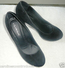 LILIANA SHOES~Stiletto Pumps~Black~Brushed~Silver Accents~Miss Size 8M~FREE SHIP