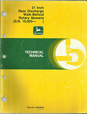 John Deere 21 Inch Rear Discharge Walk-Behind Rotary Mowers Technical Manual