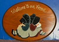 Welcome to Our Home Wood Sign with 2 Bonnet Apron Girls (Holly Hobbie style)