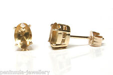 9ct Gold Oval Citrine Stud Earrings Gift Boxed Made in UK