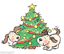 New Penny Black XMAS JOY Rubber Stamp Christmas Tree Dog Puppies Holidays