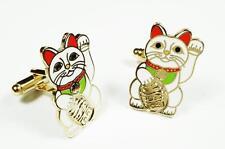 Maneki Neko Lucky Cat Japanese Asian Fortune Beckoning Cufflinks Cuff Links Set