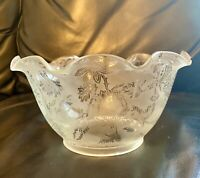 1890's Antique Scalloped Crystal Handblown Etched Frosted Glass Lamp Shade 4""