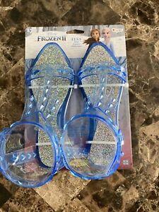 Disney Frozen 2 Elsa Shoes Girls Sz 9 10 S M Blue Jelly Sandals Costume Dress Up
