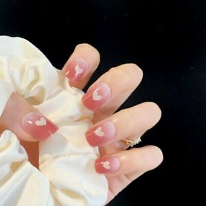 Pink Gradient Heart Artificial Nails Tips French Full Cover False Press On Nails