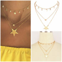 3Layer Gold Plated Choker Crystal Star Tassel Long Pendant Choker Necklace Charm