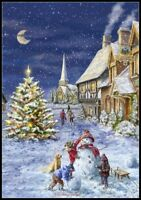 Christmas Snowman 5  - DIY Chart Counted Cross Stitch Patterns Needlework