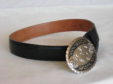 "Tony Lama Black Leather Belt Yolk Insets, Silver Tone Buckle S 25- 29"" 12331B"