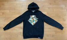 Mens Pink Dolphin Frog Camo Waves Black Pullover Hoodie Medium