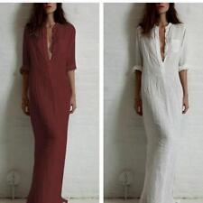Women's Long Sleeve V Neck Loose Linen Maxi Shirt Dress Kaftan Long Tops B