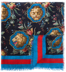 NWT Gucci Black Lion Print Blue Red Striped Web Soft Modal Silk Blend Scarf $495