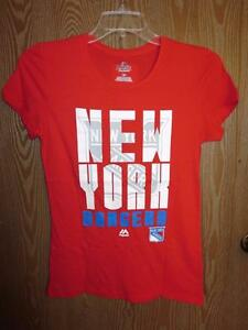 New- New York Rangers Womens Fitted size Medium (M) Majestic Red Glitter Shirt