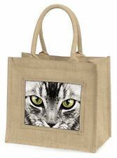Magical Silver Tabby Cat Face Large Natural Jute Shopping Bag Christmas, AC-7BLN