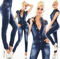 Damen Jeans Overall Hose Jumpsuit Röhre Denim Stretch Einteiler XS S M L XL