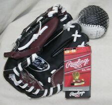 Brand New Rawlings Glove Mit & Baseball Set Age 3-5 Brown & Black Outdoor Fun
