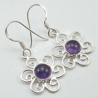 """Handcrafted Engagement Jewelry, 925 Sterling Silver ROUND AMETHYST Earrings 1.3"""""""