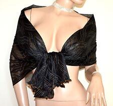 STOLA NERA BLU ORO scialle coprispalle donna maxi foulard velata elegante A50