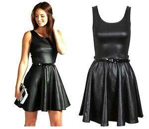 Women Ladies Leather Wetlook Shortsleeve Skater Belted Mini Dress 8-26 size