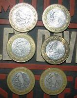 MEXICO SILVER CORE MIDDLE DIEZ 10 NUEVO PESOS MEXICAN COINS
