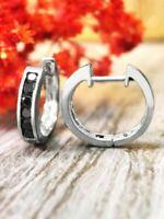 1.00 Ctw Black Diamond Huggie Hoop Earrings Channel Setting 14k White Gold Over
