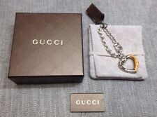 Gucci Horse Bit Burnished Bamboo Sterling Silver Link Heart Bracelet NWB