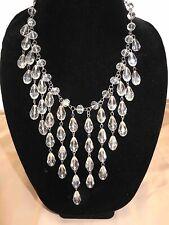 Clear Crystal Fringe Faceted Beads Bib Statement Necklace  +Adjustable Length+