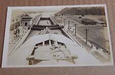 Postcard Battleship HMS Nelson Going Down Through Locks Panama Canal RPPC 1930's