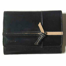 """New XOXO Black Bifold Wallet Taupe Stitches Bow Zipper Coin Card Pockets 5.5""""x4"""""""